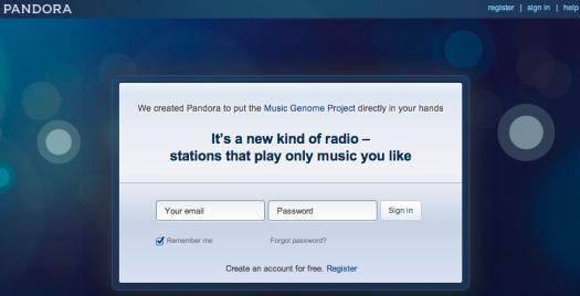 Pandora.com Home Page