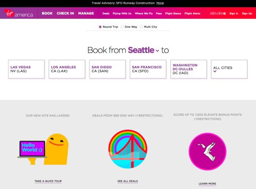 virginamerica.com home page.